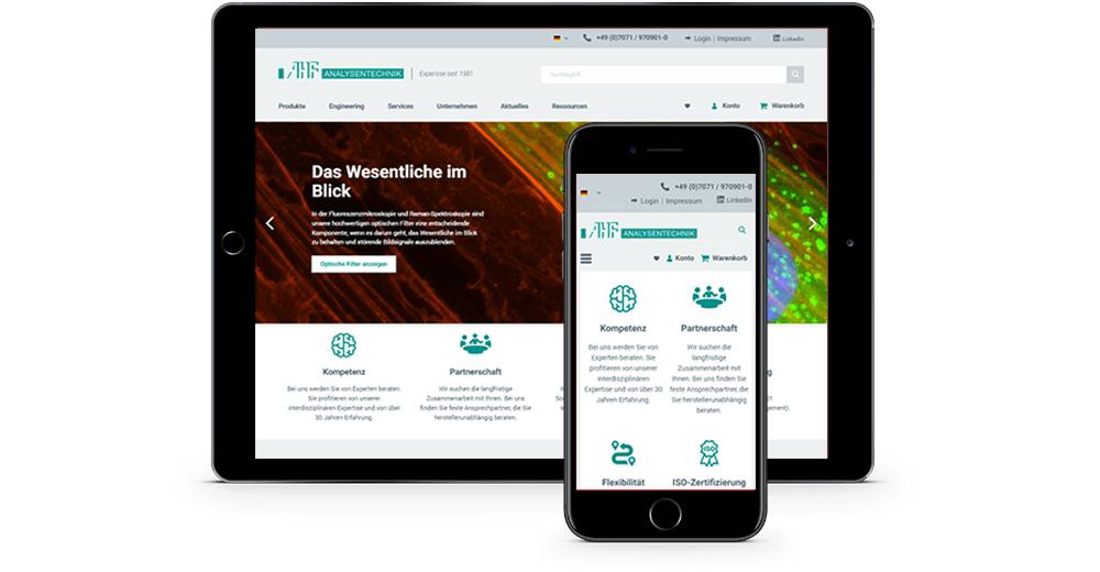 webseite auf tablet und smartphone